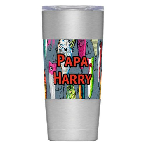 "Personalized insulated steel mug personalized with fishing lures pattern and the saying ""Papa Harry"""