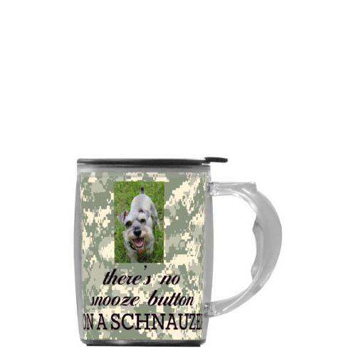 "Custom mug with handle personalized with photo and the saying ""there's no snooze button ON A SCHNAUZER"""