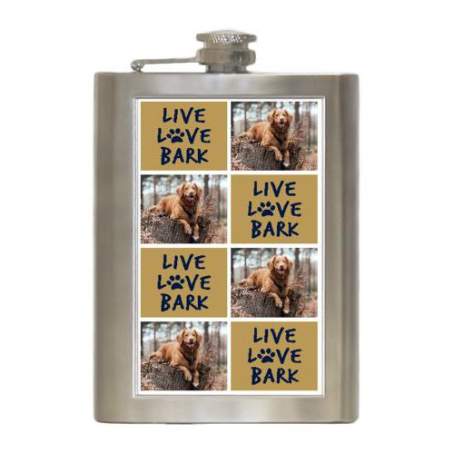 "Personalized 8oz flask personalized with a photo and the saying ""Live love bark"" in brigham young university"