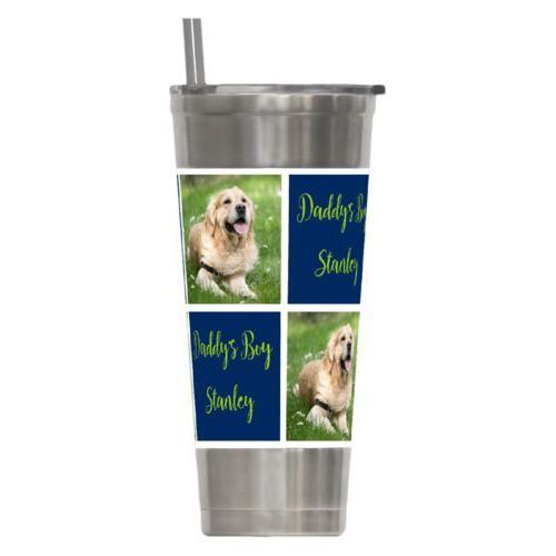 "Personalized insulated steel tumbler personalized with a photo and the saying ""Daddy's Boy Stanley"" in juicy green and navy blue"