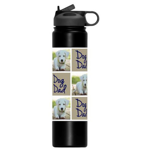 "Personalized water bottle personalized with a photo and the saying ""dog dad"" in true navy and bark"