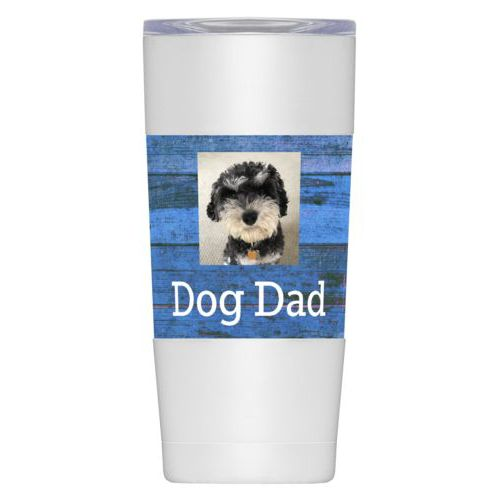 "Personalized insulated steel mug personalized with photo and the saying ""Dog Dad"""