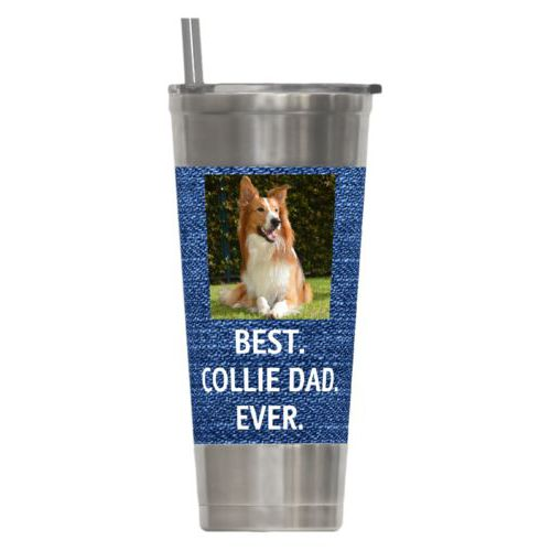 "Personalized insulated steel tumbler personalized with photo and the saying ""BEST. COLLIE DAD. EVER."""