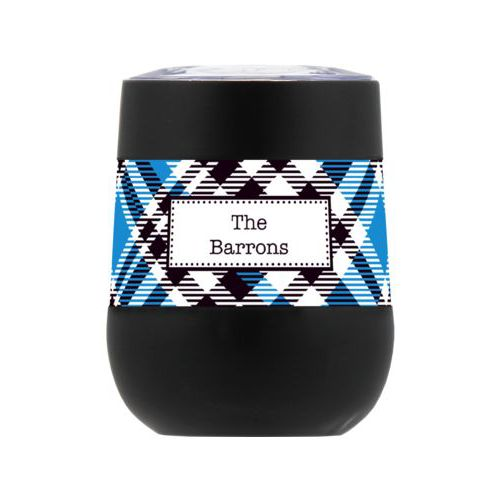 Personalized insulated wine tumbler personalized with tartan pattern and name in black and true blue
