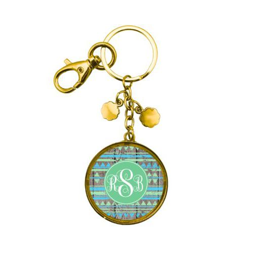 Personalized metal keychain personalized with birch pattern and monogram in mojito
