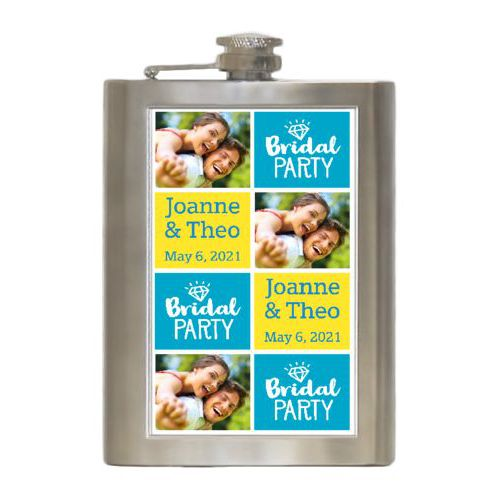 "Personalized 8oz flask personalized with a photo and sayings ""Bridal party"" in juicy blue and white and ""Joanne & Theo May 6, 2021"" in true blue and lemon meringue"