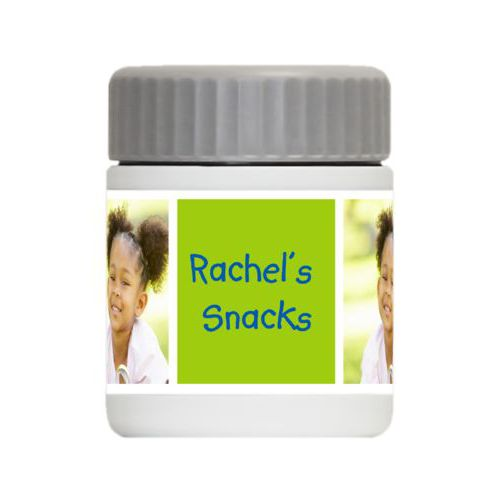 "Personalized 12oz food jar personalized with a photo and the saying ""Rachel's Snacks"" in cosmic blue and juicy green"
