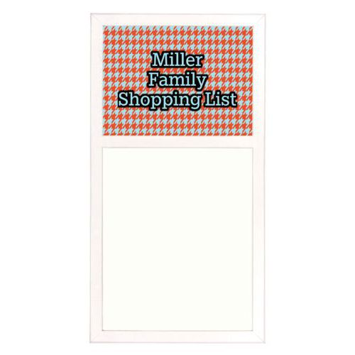 "Personalized white board personalized with houndstooth pattern and the saying ""Miller Family Shopping List"""