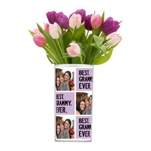 "Personalized vase personalized with a photo and the saying ""Best Grammy Ever"" in black and soft violet"