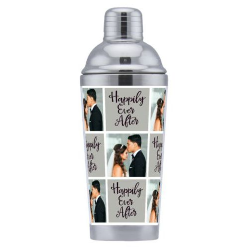 "Coctail shaker personalized with a photo and the saying ""happily ever after"" in jewel - onyx and black"