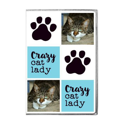 "Personalized journal personalized with a photo and sayings ""Crazy cat lady"" in black and sweet teal and ""Paw Print"" in white and black"