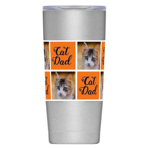 "Personalized insulated steel mug personalized with a photo and the saying ""cat dad"" in auburn university"