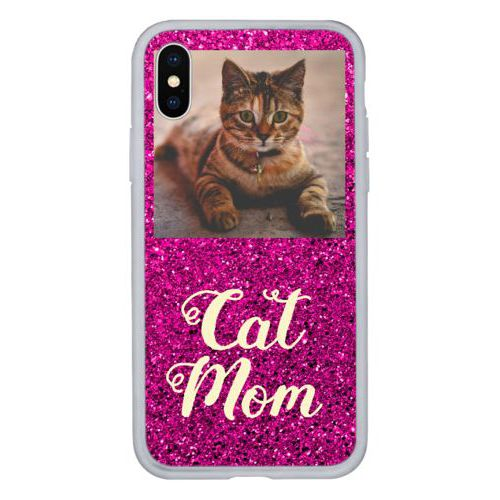 "Personalized iphone case personalized with photo and the saying ""cat mom"""