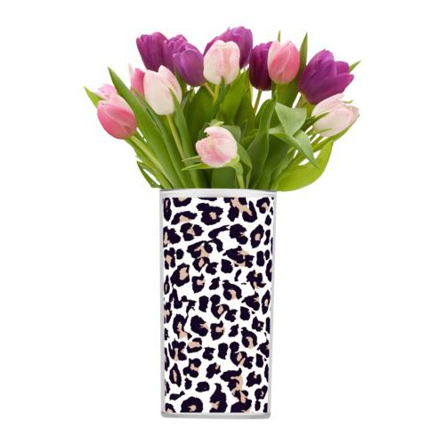 Personalized vase personalized with leopard pattern
