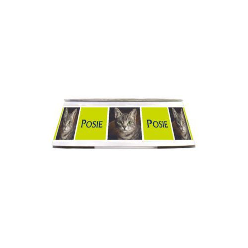 "Personalized pet bowl personalized with a photo and the saying ""Posie"" in marine and chartreuse"