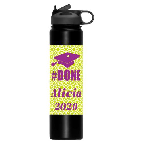 "Personalized water bottle personalized with lattice pattern and the saying ""#Done"" and the saying ""Alicia 2020"""
