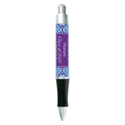 Personalized pen personalized with anastasia pattern and name in amethyst purple and sweet teal