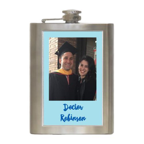 "Personalized 8oz flask personalized with photo and the saying ""Doctor Robinson"""