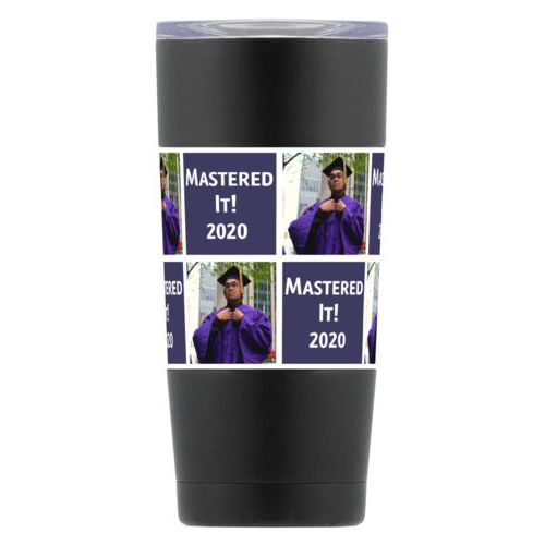 "Personalized insulated steel mug personalized with a photo and the saying ""Mastered It! 2020"" in navy and white"