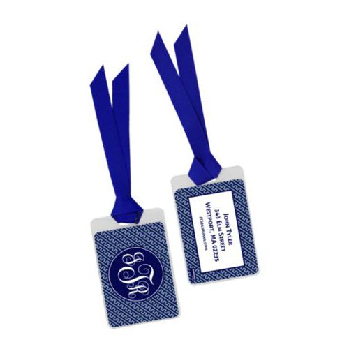 Personalized bag tag personalized with dolman pattern and monogram in true navy and jet blue