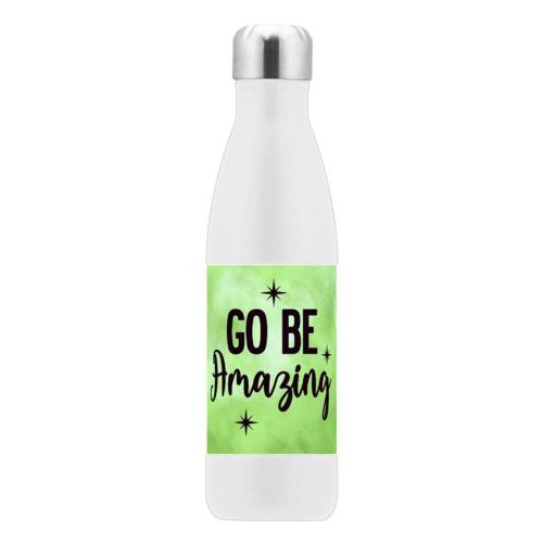 "Custom stainless steel water bottle personalized with lime cloud pattern and the saying ""Go Be Amazing"""