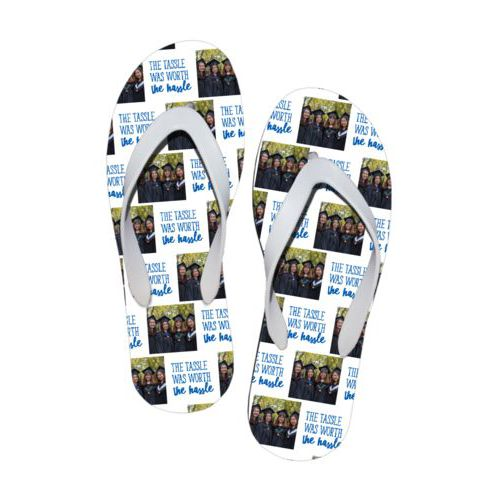 "Personalized flipflops personalized with a photo and the saying ""The Tassle was Worth the Hassle"" in white and cosmic blue"