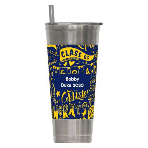 Personalized insulated steel tumbler personalized with congrats pattern and name in navy blue and gold