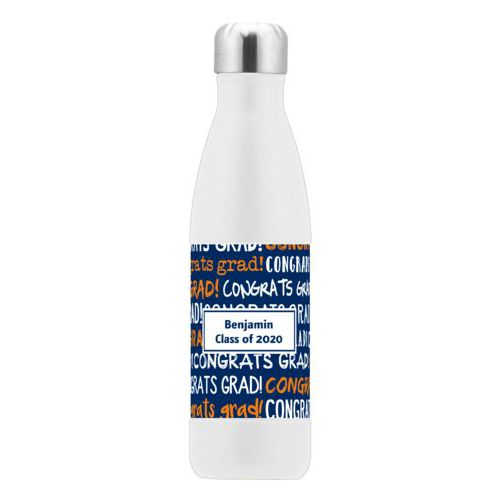 Personalized stainless steel water bottle personalized with congrats grad pattern and name in navy blue and juicy orange