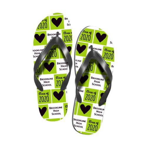 "Personalized flipflops personalized with sayings ""Class of 2020 Script"" in black and juicy green and ""Heart"" in black and juicy green and ""Brookline High School"" in white and black"