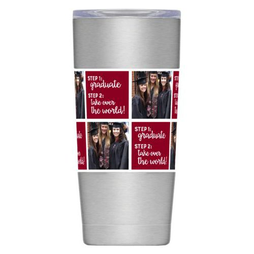 "Personalized insulated steel mug personalized with a photo and the saying ""step 1: graduate step 2: take over the world"" in maroon and white"