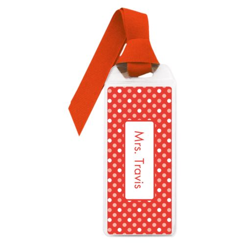 Personalized book mark personalized with medium dots pattern and name in red punch and papaya