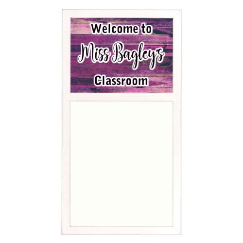 "Personalized white board personalized with pink rustic pattern and the saying ""Welcome to Miss Bagley's Classroom"""