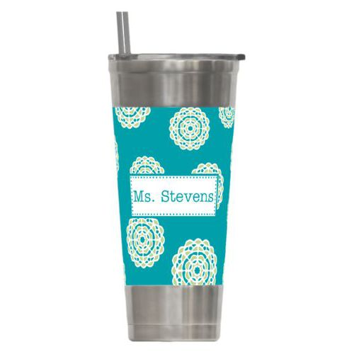 Personalized insulated steel tumbler personalized with mandala pattern and name in turquoise and leaf green