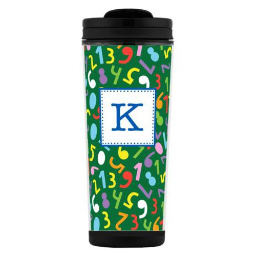 Custom tall coffee mug personalized with numbers pattern and initial in cosmic blue