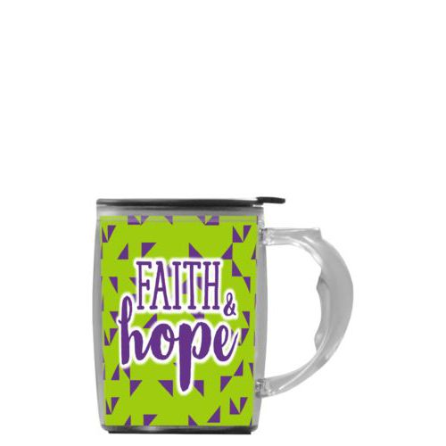 "Custom mug with handle personalized with triangles pattern and the saying ""Faith & Hope"""