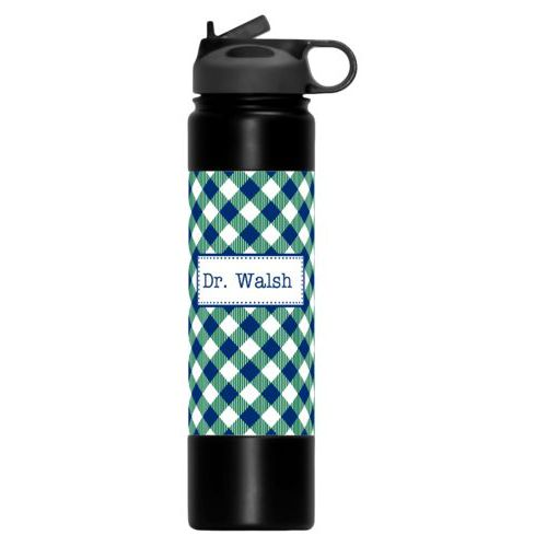 Insulated water bottle personalized with check pattern and name in champlain college