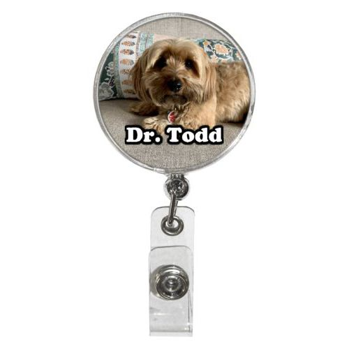 Personalized badge reel personalized with dog photo
