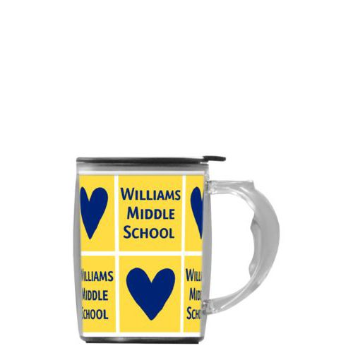 "Custom mug with handle personalized with sayings ""Heart"" in carleton college and ""Williams Middle School"" in carleton college"