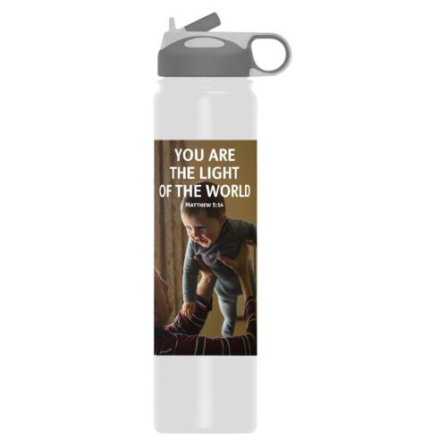 "Personalized stainless steel water bottle personalized with photo and the saying ""YOU ARE THE LIGHT OF THE WORLD Matthew 5:14"""
