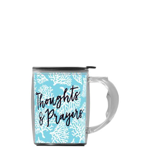 "Custom mug with handle personalized with reef pattern and the saying ""Thoughts & Prayers"""