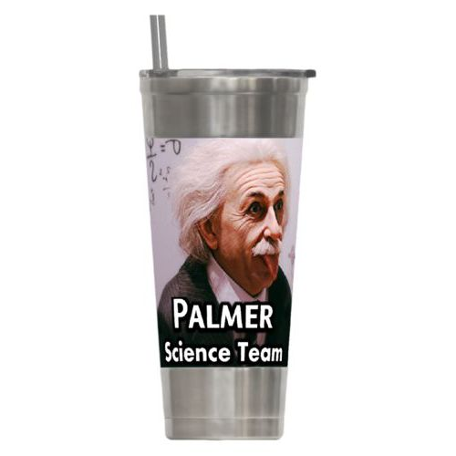 "Personalized insulated steel tumbler personalized with photo and the saying ""Palmer Science Team"""