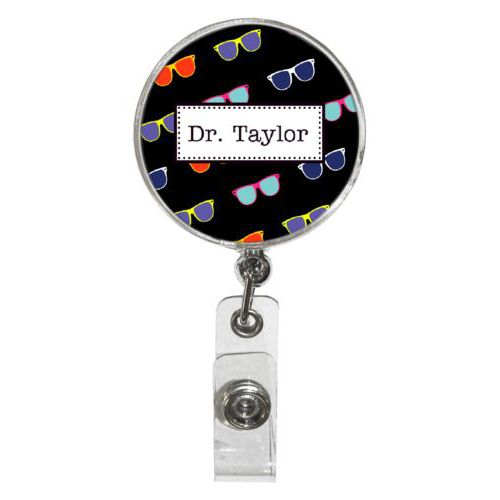 Personalized badge reel personalized with summer shady pattern and name in black licorice