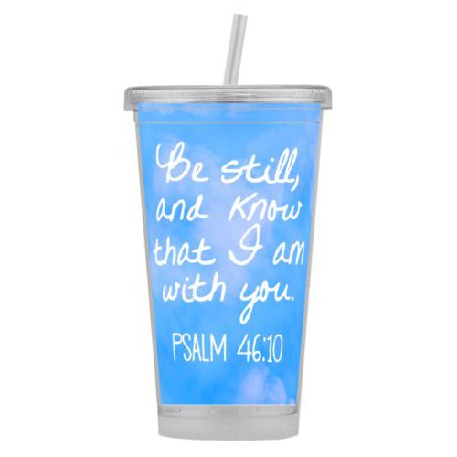 "Personalized tumbler personalized with light blue cloud pattern and the saying ""Be still, and know that I am with you"""