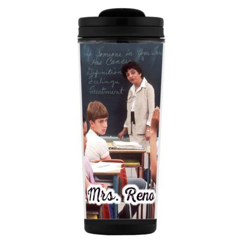 "Custom tall coffee mug personalized with photo and the saying ""Mrs. Reno"""
