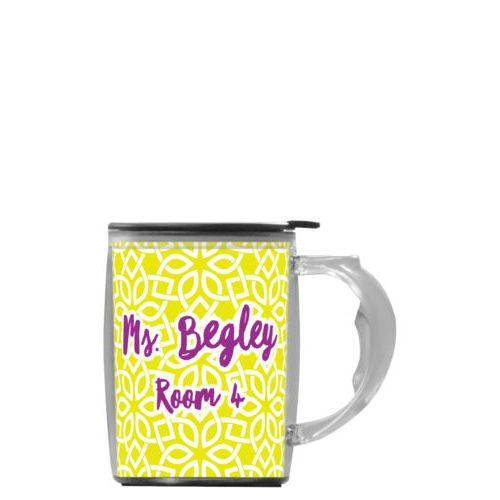 "Custom mug with handle personalized with lattice pattern and the saying ""Ms. Begley Room 4"""