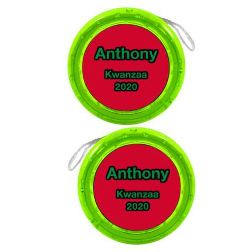 "Personalized yoyo personalized with concaved pattern and the saying ""Anthony Kwanzaa 2020"""