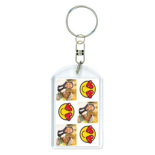 "Personalized keychain personalized with a photo and the saying ""Lovestruck Smiley"""