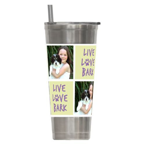 "Personalized insulated steel tumbler personalized with a photo and the saying ""Live love bark"" in grape purple and morning dew green"