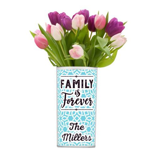 "Personalized vase personalized with lattice pattern and the saying ""Family Is Forever"" and the saying ""The Millers"""