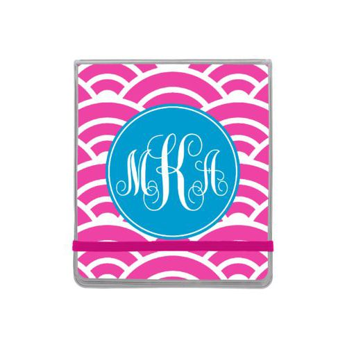 Personalized manicure set personalized with sunrise pattern and monogram in caribbean blue and juicy pink